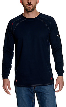 Ariat Men's Navy Blue Crew Long Sleeve FR Work Shirt - Big & Tall