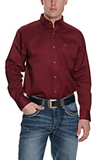 Ariat Mens L/S Solid Burgundy Shirt 10012635