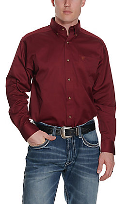 Ariat Men's Solid Burgundy Long Sleeve Western Shirt