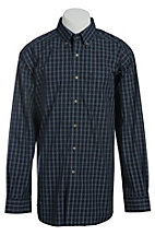 Ariat Men's L/S Dan Black Western Plaid Shirt 10013430X- Big & Tall Sizes