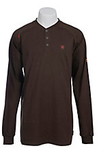 Ariat Work FR Men's Chocolate HRC2 Crew Neck Long Sleeve Flame Resistant Henley Shirt