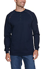 Ariat Work FR Men's Navy HRC2 Crew Neck Long Sleeve Flame Resistant Henley Shirt