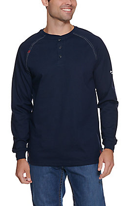 Ariat Men's Navy HRC2 Crew Neck FR Work Henley