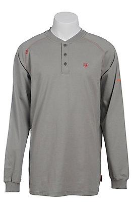 Ariat Men's Silver Fox Henley Long Sleeve FR Work Shirt - Big & Tall