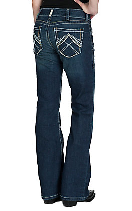 Ariat Women's Ocean Whipstitch Mid Rise Boot Cut Real Riding Jean by Ariat