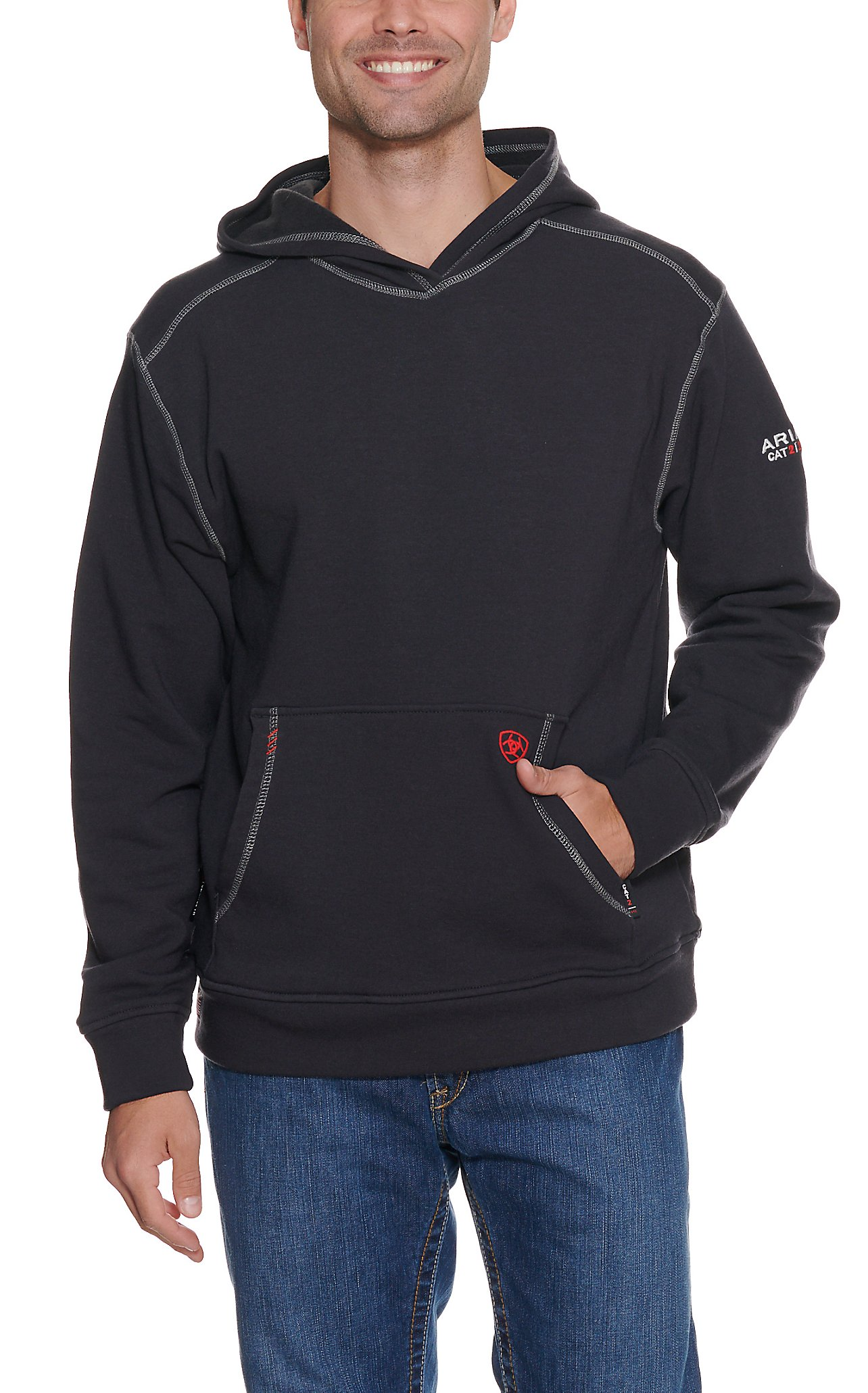Ariat Work FR Men s Black HRC2 Long Sleeve Flame Resistant Hoodie ... 855d27763