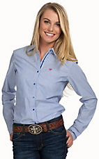 Ariat Women's Kirby Blue & White Stripe Long Sleeve Western Shirt