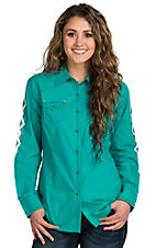 Ariat Ismay Turquoise Embroidered Long Sleeve Western Snap Shirt