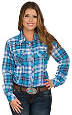 Ariat Women's Blue Croft Plaid Long Sleeve Western Shirt