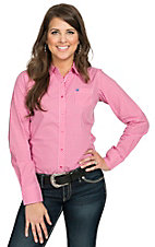 Ariat Women's Kirby Pink & White Gingham Plaid Long Sleeve Western Shirt