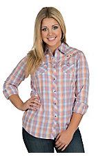 Ariat Women's Koosia Coral & Periwinkle Plaid Long Sleeve Western Snap Shirt