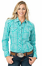 Ariat Women's Kallis Aqua Plaid Long Sleeve Western Snap Shirt