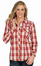 Ariat Women's Helena Red & Orange Plaid Long Sleeve Western Snap Shirt