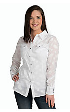 Ariat Women's Valley White Paisley Long Sleeve Western Snap Shirt