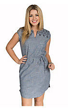 Ariat Women's Katie Chambray Embroidered Cap Sleeve Dress