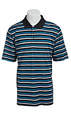 Ariat Men's Brilliant Blue and Black Stripe Tek Polo