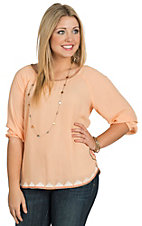Ariat Women's Becky Orange Blossom Embroidered 3/4 Sleeve Chiffon Top
