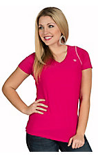 Ariat Women's Gazelle Pink Heat Series Tek V-Neck Short Sleve Top