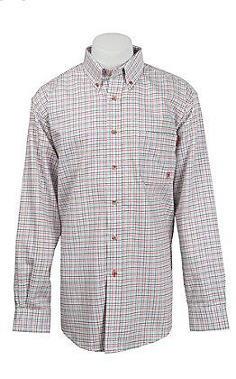 Ariat Men's White Multi Gauge Long Sleeve FR Work Shirt
