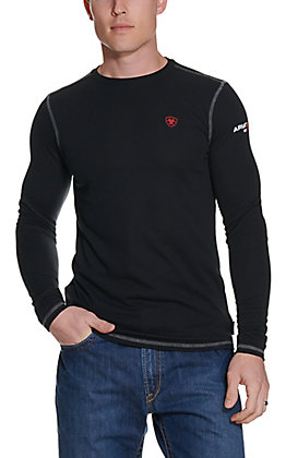 Ariat Work FR Men's Black HRC1 Crew Neck Long Sleeve Baselayer Flame Resistant Shirt