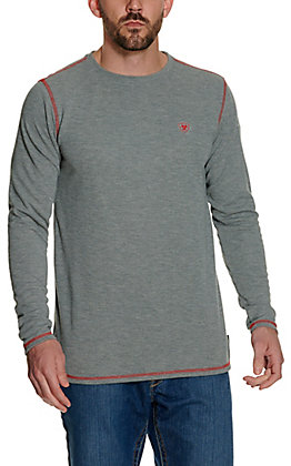 ce62f5ea4b87 Ariat Work FR Men s Grey HRC1 Crew Neck Long Sleeve Baselayer Flame  Resistant Shirt