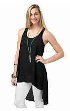 Ariat Women's Black Chiffon Sleeveless Hi-Lo Tank Top
