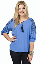 Ariat Women's Blue with Navy Embroidery 3/4 Sleeve Peasant Top