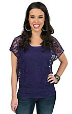 Ariat Women's Medallion Deep Purple Lace Banded Cap Sleeve Top
