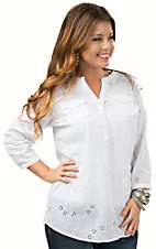 Ariat Women's Verona White Eyelet 3/4 Sleeve Tunic