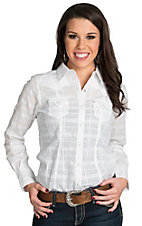Ariat Women's Tetonia White with Silver Lurex Plaid Long Sleeve Western Shirt