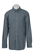 Ariat Mens Fraser Navy Mini Plaid Western Shirt- Big & Talls