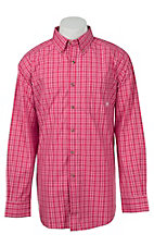 Ariat Mens Pink & White Plaid Western Shirt- Big & Talls