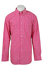 Ariat Men's Pink & White Print Western Shirt