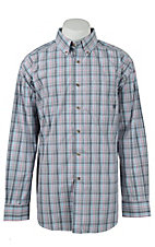 Ariat Mens Grey & Pink Multicolor Plaid Western Shirt