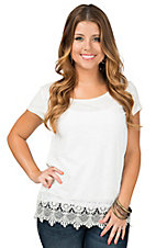 Ariat Women's White Belmont Lace Short Sleeve Tee