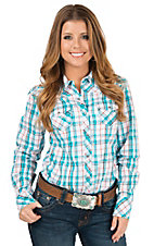 Ariat Women's Puebla Turquoise, Orange and Brown Plaid with Lurex Long Sleeve Western Shirt