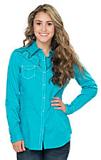 Ariat Women's Turquoise Willows with Retro Embroidery and Studs Long Sleeve Western Shirt