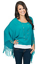 Ariat Teal Buscadero Fringe Fashion Tunic Top