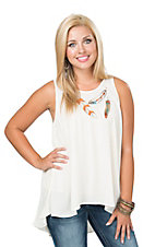 Ariat Women's Cream Free Spirit Embroidered Feathers and Pleated Back Fashion Tank Top