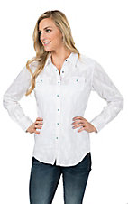 Ariat Women's White Borrendo with Tonal Leaf Print and Turquoise Snaps Long Sleeve Western Shirt