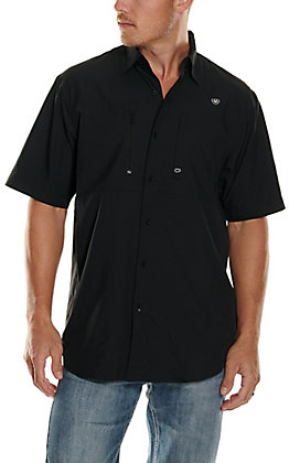 Ariat Men's VentTEK Solid Black Short Sleeve Fishing Shirt