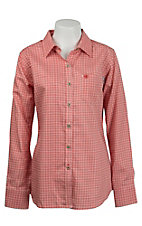 Ariat Work FR Women's Red Tioga Plaid Long Sleeve Flame Resistant Work Shirt 10015899