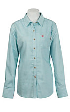 Ariat Work FR Women's Aqua Tioga Plaid Long Sleeve Flame Resistant Work Shirt 10015905