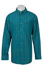 Ariat Mens Rust Turquoise Plaid Western Shirt