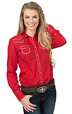 Ariat Women's Red Angeleena with Stud Accents Long Sleeve Western Shirt