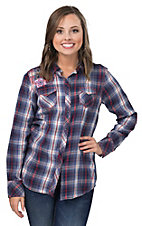 Ariat Women's Ashley Navy, Red and White Plaid with Floral Embroidery Long Sleeve Western Shirt