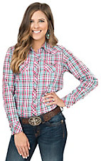 Ariat Women's Clara Turquoise & Pink Plaid Long Sleeve Western Snap Shirt