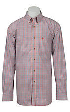 Ariat Mens Red & Navy Plaid Western Shirt- Big & Talls