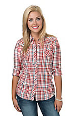 Ariat Women's Elizabeth White, Red and Blue Plaid Long Sleeve Western Shirt