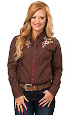 Ariat Women's Brown June with Floral Embroidery Long Sleeve Retro Western Shirt